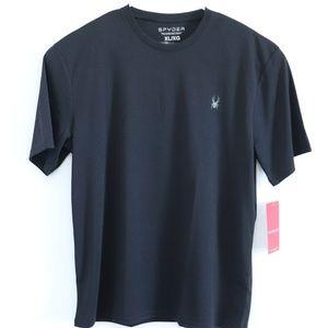 New Spyder T-Shirt Athletic Workout Black Mens